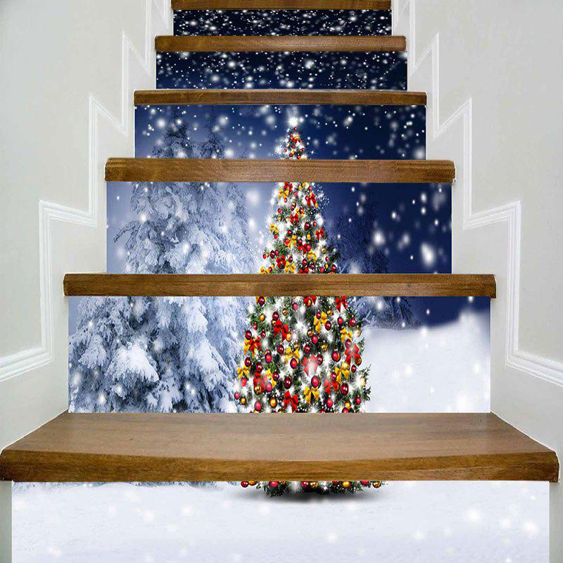 Snowscape Christmas Tree Print Decorative DIY Stair Stickers itead sonoff smart wifi switch diy smart wireless remote switch domotica wifi light switch smart home controller work with alexa