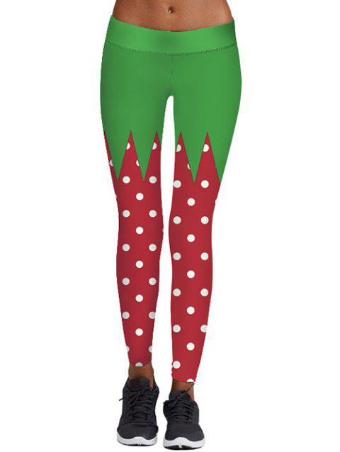 Polka Dot Print Color Block Christmas Leggings - COLORMIX M