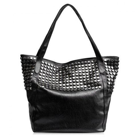 PU Leather Studs Shoulder Bag - BLACK