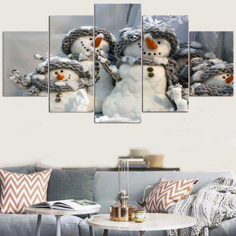 Snowmen Family Patterned Wall Stickers - GREY/WHITE 1PC:8*20,2PCS:8*12,2PCS:8*16 INCH( NO FRAME )