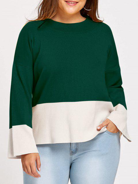 Color Block Mock Neck Plus Size Sweater - DEEP GREEN 4XL