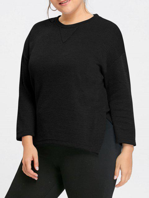 Plus Size Side Slit Drop Shoulder  Sweater - BLACK 4XL