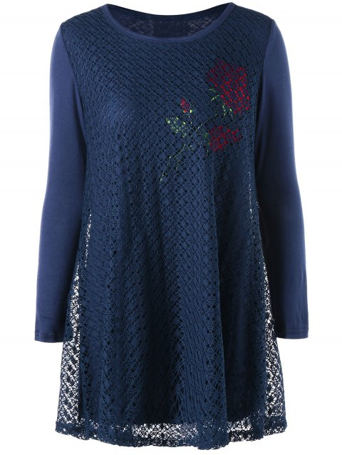 Plus Size Rose Pattern Openwork Tunic Blouse - CADETBLUE 3XL