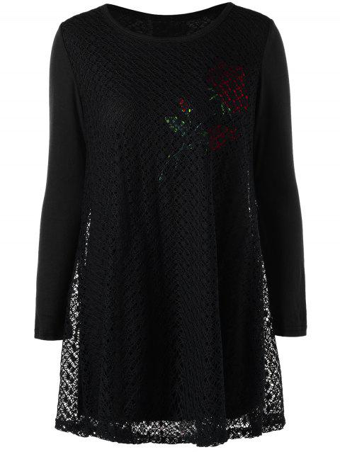 Plus Size Rose Pattern Openwork Tunic Blouse - BLACK XL