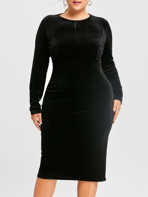 2eead84c7af 17% OFF  2019 Plus Size Long Sleeve Velvet Dress In BLACK 4XL ...