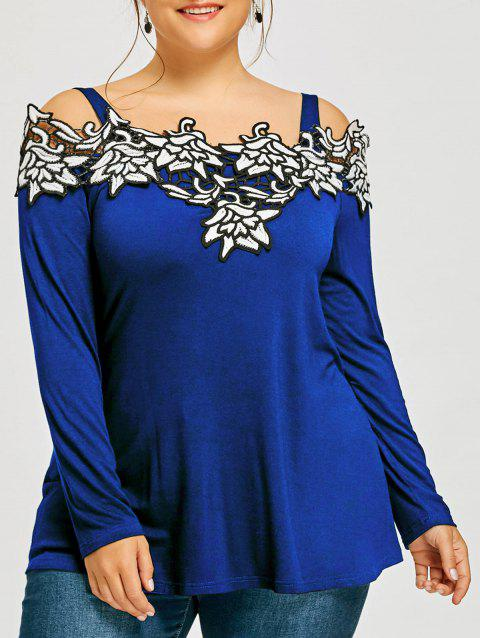 Plus Size Long Sleeve Embroidered Cold Shoulder T-shirt - BLUE XL