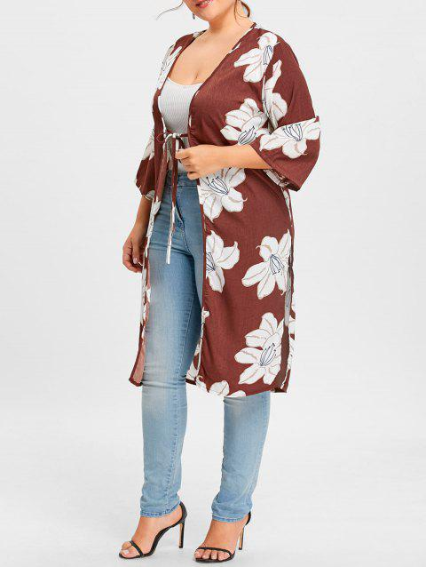 Floral Print Slit Plus Size Wrap Duster Coat - WINE RED ONE SIZE
