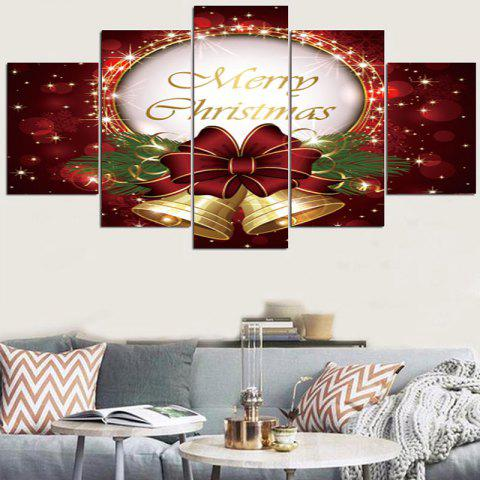 Christmas Bowknot Bells Patterned Wall Stickers - RED/GOLDEN 1PC:8*20,2PCS:8*12,2PCS:8*16 INCH( NO FRAME )