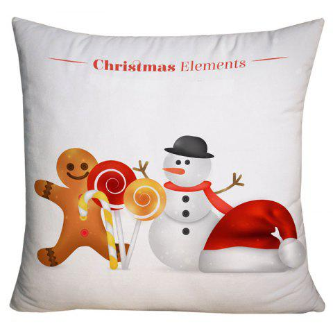 Christmas Snowman and Candy Printed Decorative Pillowcase - WHITE W18 INCH * L18 INCH