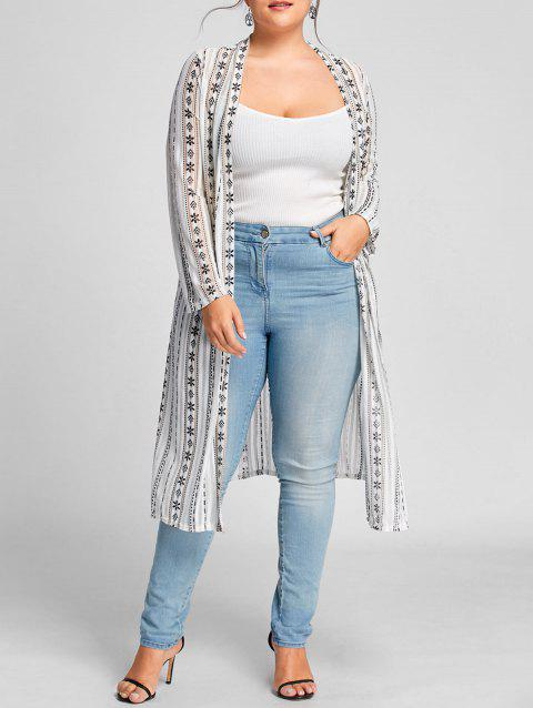 Floral Print Collarless Plus Size Coat - WHITE ONE SIZE