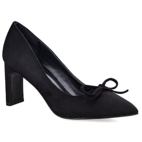 Pointed Toe Bow Pumps - BLACK 37