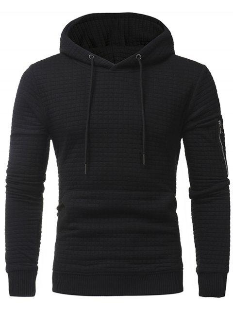 Pocket Plaid Emboss Pullover Hoodie - BLACK XL