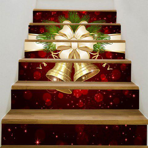Christmas Bells Bowknot Pattern Stair Stickers - COLORFUL 100*18CM*6PCS