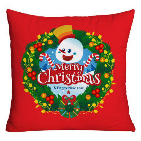 Merry Christmas Wreath Print Decorative Pillowcase - RED W18 INCH * L18 INCH