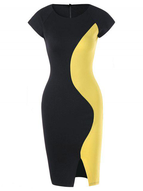 Two Tone Cap Sleeve Fitted Dress - YELLOW/BLACK M