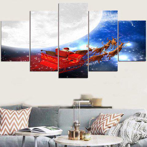 Christmas Cart Moonlight Home Decor Wall Stickers - COLORFUL 1PC:8*20,2PCS:8*12,2PCS:8*16 INCH( NO FRAME )