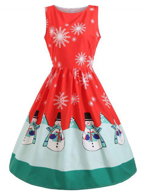 010753bf0af1 17% OFF] 2019 Christmas Snowflake Snowman Print Midi Dress In RED ...