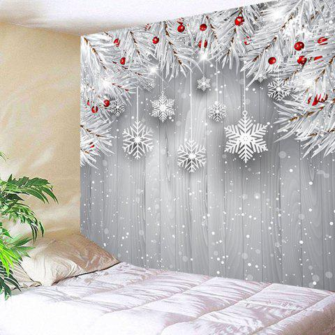 Wall Decor Christmas Snowflake Printed Tapestry - SILVER GRAY W91 INCH * L71 INCH