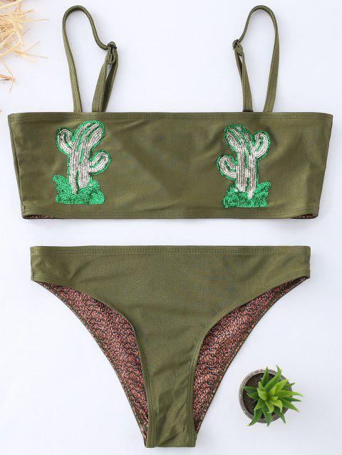 Cactus Graphic Bandeau Bikini Swimwear - BLACKISH GREEN 2XL