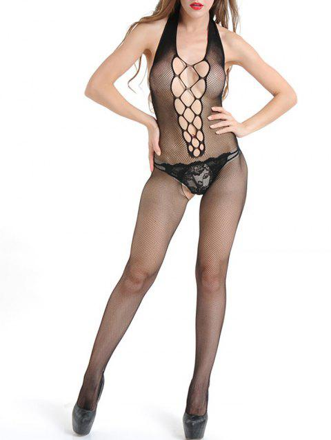 Halter Backless Fishnet Lingerie Bodystockings - BLACK ONE SIZE