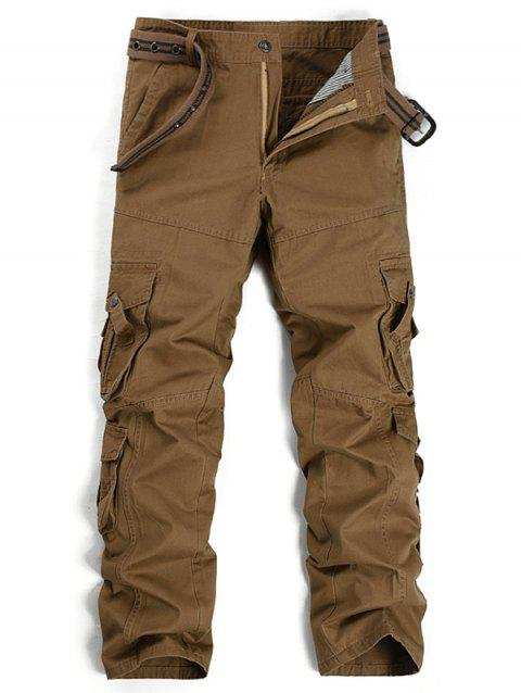 Straight Leg Pockets Design Cargo Pants - COFFEE 32