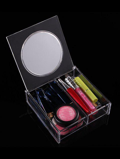 Transparent Acrylic Cosmetics Storage Box With Mirror - TRANSPARENT