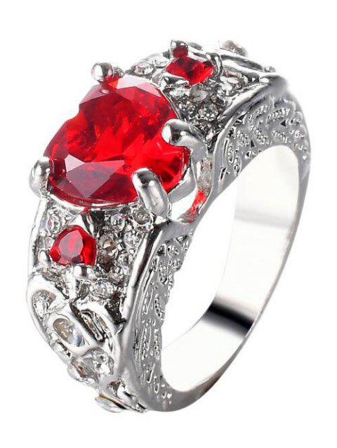 Faux Gem Heart Engraved Finger Ring - RED 6