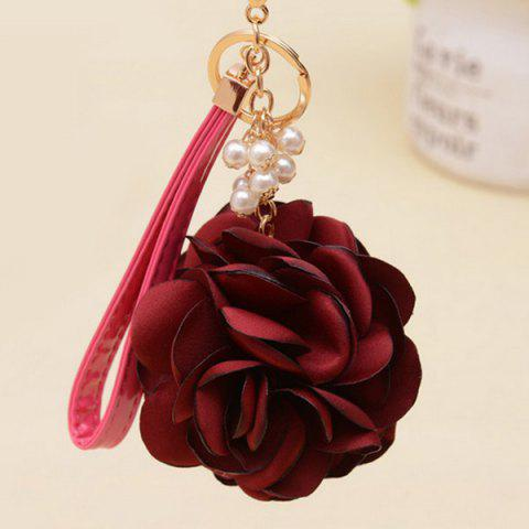 Faux Pearl Flower Vintage Keychain - WINE RED