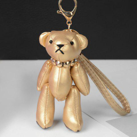 Cute Artificial Leather Bear Keychain - GOLDEN