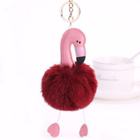 Cute Fuzzy Ball Flamingo Heart Keychain - WINE RED