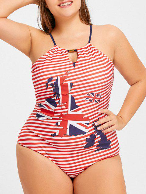 Plus Size Striped Map Print Halter Swimwear - US FLAG 2XL