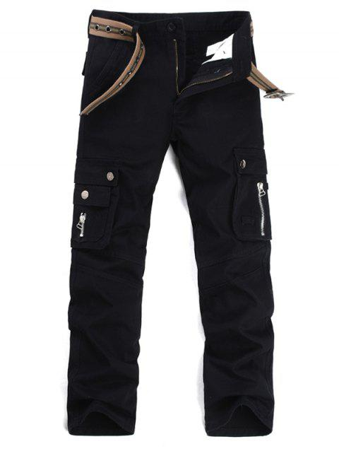 Zipper Fly Multi Pockets Cargo Pants - BLACK 40