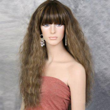Long Full Bang Colormix Fluffy Wavy Synthetic Wig - LIGHT BROWN LIGHT BROWN