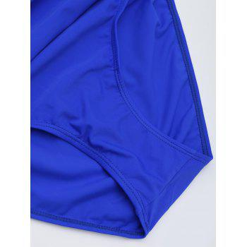 One Piece Ruched Halter Swimsuit - BLUE S
