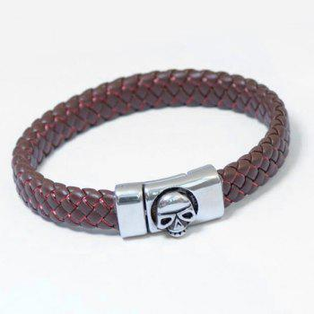 Skull Pattern Magnet Buckle PU Leather Bracelet - PINKISH BROWN