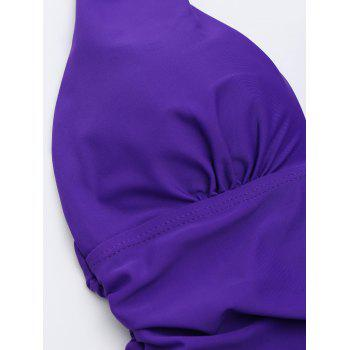 One Piece Ruched Halter Swimsuit - PURPLE XL