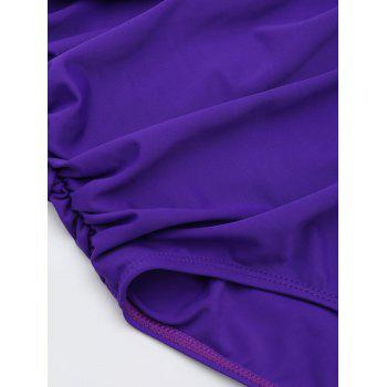 One Piece Ruched Halter Swimsuit - PURPLE M