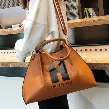 Letter Print Shoulder Bag Set -  BROWN