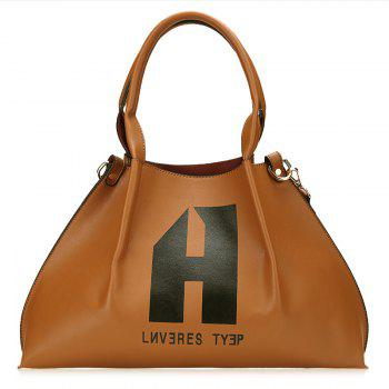 Letter Print Shoulder Bag Set - BROWN BROWN
