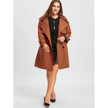 Double Breasted Plus Size Long Coat - SUGAR HONEY 3XL