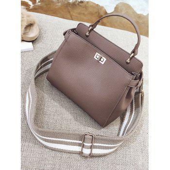 Faux Leather Top Handle Stitching Handbag - GRAY