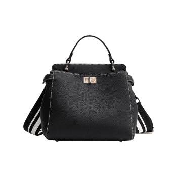 Faux Leather Top Handle Stitching Handbag - BLACK