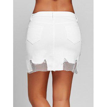 A-line Fishnet Panel Mini Skirt - WHITE WHITE