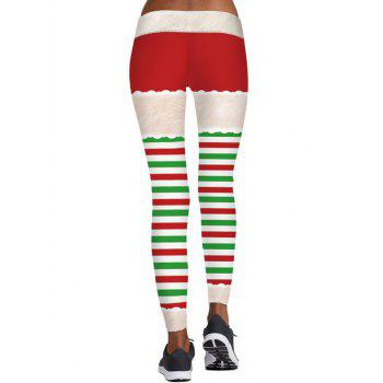 Striped Berry Print Christmas Skinny Leggings - COLORMIX L