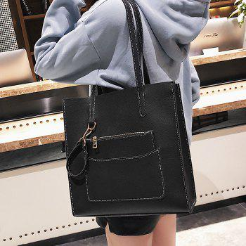 2 Pieces Stitching Shoulder Bag Set -  BLACK