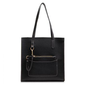 2 Pieces Stitching Shoulder Bag Set - BLACK BLACK