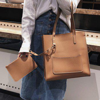 2 Pieces Stitching Shoulder Bag Set -  BROWN