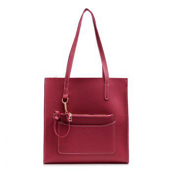 2 Pieces Stitching Shoulder Bag Set - RED RED