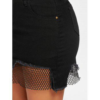 A-line Fishnet Panel Mini Skirt - BLACK S
