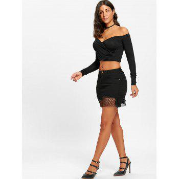A-line Fishnet Panel Mini Skirt - BLACK XL
